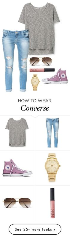 love these converse by helenhudson1 on Polyvore featuring MANGO, Zara, Ray-Ban, NARS Cosmetics, Michael Kors and Converse - amzn.to/2gxKjAk