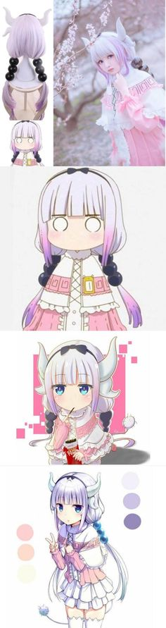 Wigs and Facial Hair 155350: Kobayashi S Dragon Maid Kamui Kanna Gradient Purple Cosplay Wig And Accessories -> BUY IT NOW ONLY: $59.99 on eBay!