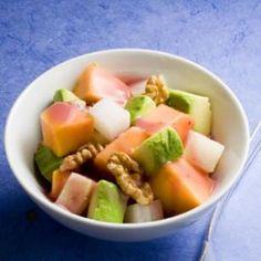 Papaya Avocado Salad  1 medium papaya, diced  1 medium avocado, diced  3/4 cup diced jicama  2 tablespoons chopped toasted walnuts  2 tablespoons low-fat raspberry vinaigrette