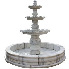 Italian Carrara Marble Three-Tier Fountain | From a unique collection of antique and modern fountains at https://www.1stdibs.com/furniture/building-garden/fountains/