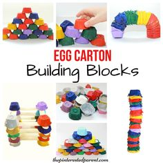 Egg Carton building blocks for kids - Engineering & STEM activities - kid's arts, crafts, learning & activities Steam Activities, Literacy Activities, Preschool Activities, Preschool Learning, Summer Activities, Block Center, Kids Blocks, Egg Carton Crafts, St Patrick's Day Crafts