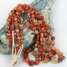 Ancient Decorated Carnelian Bead Strand