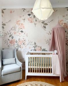 """Boori Australia on Instagram: """"Yet another beautiful creation from @nestdesignstudio! 🌸 Dusty pink accessories and floral motifs look so perfect alongside our two-toned…"""" French Nursery, Floral Nursery, Pink Accessories, Nursery Inspiration, Floral Motif, Dusty Pink, Cribs, Australia, Bed"""