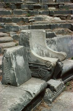 The Theatre of Priene, one of the largest of the early Greek theatres, could seat 5000 spectators. Special front row seats (prohedria) were added later for important guests.   Archaeological Site, Priene, Turkey