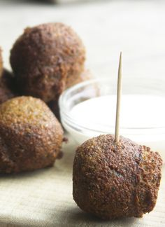 Falafel--I've only had it as pattie shaped, but these would be easier for appetizers
