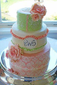 Pink & Green Damask Patterned Wedding Cake