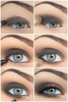 Smokey charcoal eyeshadow look for blue eyes. For makeup that will make your blue eyes pop, visit Walgreens.com.