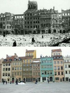 Warsaw-Poland 1945 2016 Warsaw Old Town, Warsaw Ghetto, Poland Ww2, Warsaw Poland, Visit Poland, War Photography, Before And After Pictures, History Photos, Historical Pictures