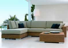 This Point Golf modern sectional outdoor wicker sofa is perfect for the patio, deck or outdoor room. Outdoor Furniture Sofa, Patio Furniture Cushions, Sectional Furniture, Outdoor Sofas, Rattan Sofa, Outdoor Seating, Outdoor Spaces, Corner Seating, Living Room Sofa