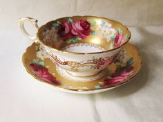 Antique Hammersley Hand Decorated Teacup and Saucer.