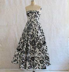 HOT White Black Flower Prints Prom Dress,Classic Evening Prom Dress,Women Girl Strapless Elegant Party Dress,Host Evening Tunic Gowns