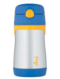 Thermos Foogo Phases Leak Proof Stainless Steel Straw Bottle, 10 Ounce, Blue/Yellow
