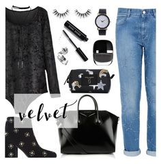 """Crushing on Velvet"" by dora04 ❤ liked on Polyvore featuring STELLA McCARTNEY, Senso, Givenchy, Velour Lashes, Marc Jacobs and Bobbi Brown Cosmetics"
