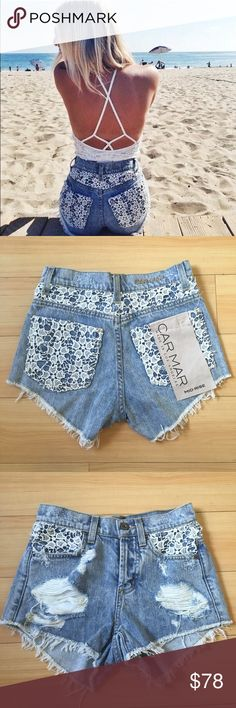 NWT LF Carmar Lace Denim Shorts New with tags! By Carmar, bought at LF. Originally $178! Size 24. Sorry, no trades. LF Shorts Jean Shorts