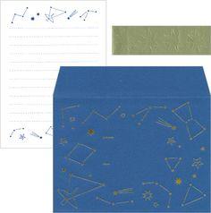 envelope 星座のイラストがおしゃれなレターセット 便箋は折らずに封筒に入れられます。
