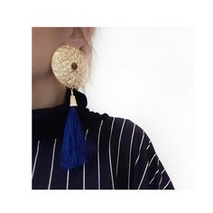 Gold, blue and beautiful ornaments. Unique, handcrafted earring from NEPAL collection by Anna Orska.
