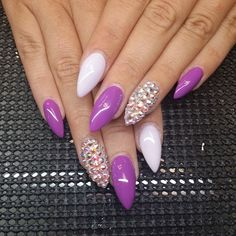 purple, white and jewels stiletto nail art design