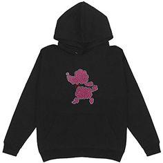 HappymomShirts Pink Poodle Rhinestone Women's Pullover Hoodie Plus Size Unisex Bling