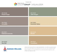 I found these colors with ColorSnap® Visualizer for iPhone by Sherwin-Williams: Poised Taupe (SW 6039), Armadillo (SW 9160), Polished Concrete (SW 9167), Sea Salt (SW 6204), Jade Dragon (SW 9129), Convivial Yellow (SW 6393), Blonde (SW 6128), Camelback (SW 6122).
