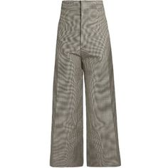 Jacquemus Hounds-tooth wool-blend cropped trousers (€450) ❤ liked on Polyvore featuring pants, capris, grey, grey pants, straight leg pants, high rise trousers, cropped pants and high-waisted pants