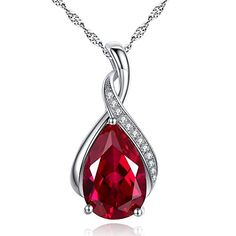 "Mabella Sterling Silver Pear Cut Lab Created Ruby Pendant Necklace, 18"" Mothers Day Gifts"