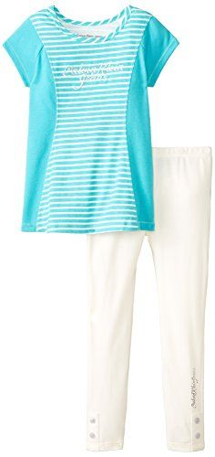 Calvin Klein Little Girls' Aqua Tunic with White Leggings