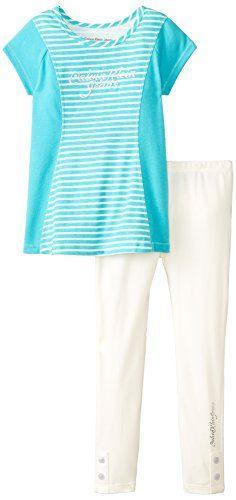 Calvin Klein Little Girls' Aqua Tunic with White Leggings