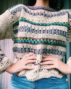 Boho jersey picture only T-shirt Au Crochet, Cardigan Au Crochet, Beau Crochet, Pull Crochet, Mode Crochet, Crochet Shirt, Crochet Woman, Learn To Crochet, Crochet Crafts