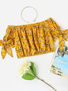 SheIn offers Bardot Ditsy Print Bow Tie Sleeve Crop Top & more to fit your fashionable needs. Teen Fashion Outfits, Outfits For Teens, Trendy Outfits, Summer Outfits, Girl Outfits, Cute Blouses, Cute Shirts, Vetement Fashion, Cute Comfy Outfits