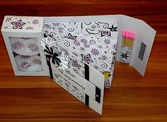 Free template/tutorial gift card with candle box and sachet pockets. This one set up with candles matches and teabags, could easily be tea and biscuits, or bath salts/spa goodies and candles  or coffee and biscotti.....The Craft Pixies, the Work Portal with ideas and a craft forum. - Candle with tea bags packing