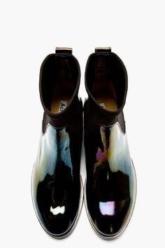 ACNE STUDIOS Black Patent Leather Oil Slick Chelsea Boots