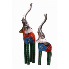 Set of 2 Elongated Trunk Elephants : Height 21 Inch and 17 Inch At www.indikala.com