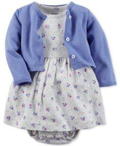Carter's Baby Girls' 2-Piece Floral-Print Dress & Cardigan Set