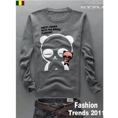 Men Long Sleeve Scoop Panda Printing Dark Grey Knitting Sweater... ($25) via Polyvore
