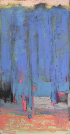 "Forest with French Blue. 2015. Pastel & Graphite. 14"" x 7.3."" Casey Klahn."