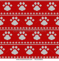 Knit texture for design new year card, christmas invitation, holiday wrapping paper, winter vacation travel and ski resort advertising etc. Fair Isle Knitting Patterns, Knitting Charts, Knitting Socks, Knitting Stitches, Frozen Cross Stitch, Snitches Get Stitches, Tapestry Crochet, Christmas Knitting, Dog Paws
