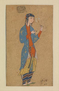 Portrait of a Lady Holding a Flower - Persian