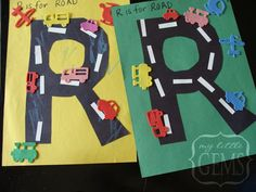 preschool transportation crafts - I'm a genius...Do the HWO sticks and curves in black paper to make all the capitals into roads!!