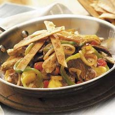 Fajita Skillet Recipe from Taste of Home #One_Pot_Dinner  #Quick_Dinner