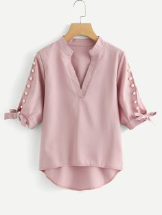 Shop Plus V Neckline Pearl Beaded Dip Hem Blouse online. SheIn offers Plus V Neckline Pearl Beaded Dip Hem Blouse & more to fit your fashionable needs. Casual Skirt Outfits, Stylish Dresses, Blouse Styles, Blouse Designs, Asymmetrical Tops, Mode Hijab, Plus Size Blouses, Ladies Dress Design, Blouses For Women