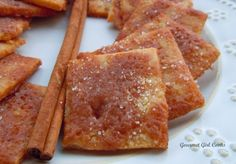 Cinnamony Pie Crust Squares (Low Carb & Gluten Free) -  to make them even crispier (sort of cracker-like) you can cook them at 325 for a little longer so they crisp without burning. / Gourmet Girl Cooks