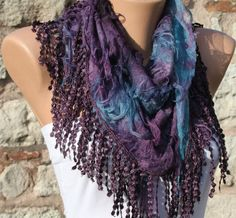 Purple Scarf  Headband Necklace Cowl with Lace Edge by by fatwoman, $17.00