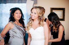 Beautiful Bridal Hair Make Up & smile 1/2 up 1/2 down wavey