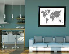 "Black World Map, World Map Print, World Map, World Map Wall Print, ""World Map 01"" Poster, Map Decor, Printable Map, Typography Print by DigitalPrintStore on Etsy"
