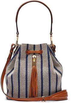 Elizabeth and James Cynnie Mini Bucket Bag with Lambskin Trim, Multicolor