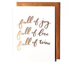 Copper Foil joy love wine card - Twofold Shop #calligraphy #brushlettering