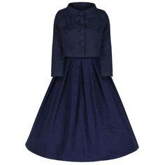Lindy Bop 'Marianne' Navy Swing Dress and Jacket Twin Set - Little Wings Factory