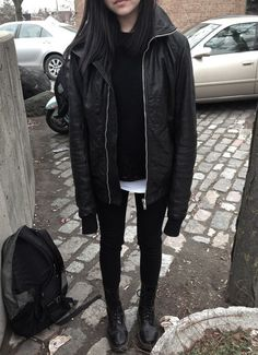 ★ ★ ★ ★ ★ five stars (black leather jacket oversized, black pullover, white tee, black leggings, black combat boots)