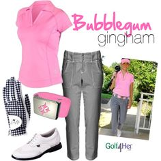 """Ladies Golf OOTD: Bubblegum Gingham"" by golf4her on Polyvore"