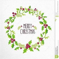 Merry Christmas Watercolor Holly Berry Wreath Card - Download From Over 49 Million High Quality ...